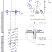 Чертеж - Узел соединения винтовой сваи для забора со столбом