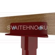 Крепление головка винтовой сваи к брусу шпилькой + металлический уголок