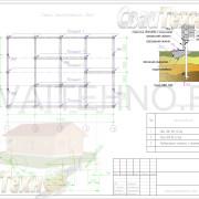 Схема расположения свай для фундамента одноэтажного дома из бруса