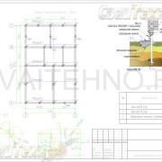 Схема расположения свай для фундамента одноэтажного дома из СИП панелей