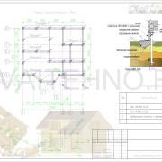 Схема расположения свай для фундамента одноэтажного дома с мансардой