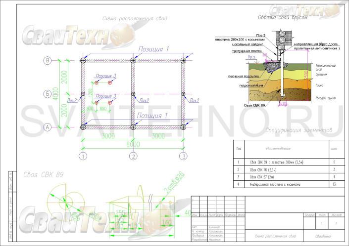 Схема расположения свай для фундамента беседки с запланированной установкой мангала