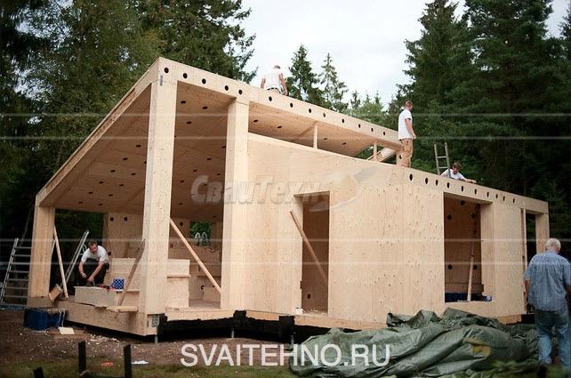 дома из Сип-панелей на винтовых сваях