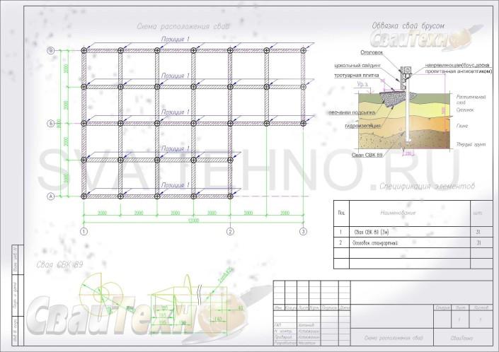 Схема расположения свай для строительства одноэтажного дома 8х8м