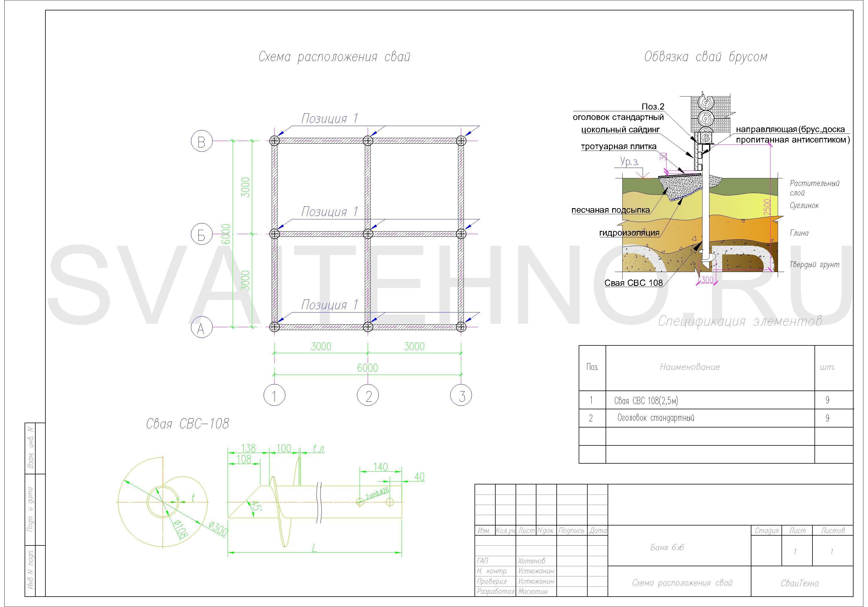 Схема расположения свай для фундамента бани 6000х6000мм