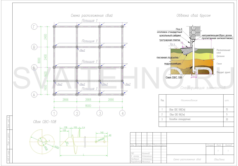 Схема расположения свай для фундамента частного дома из СИП панелей