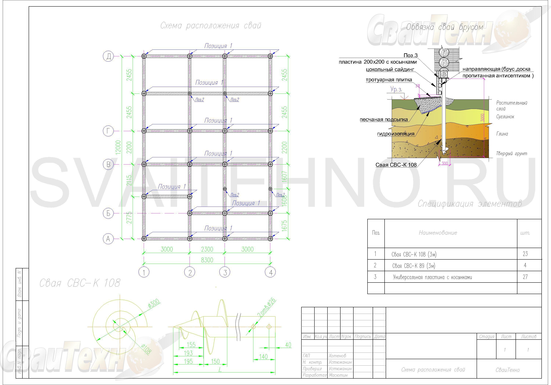 Схема расположения свай для фундамента двухэтажного каркасного дома