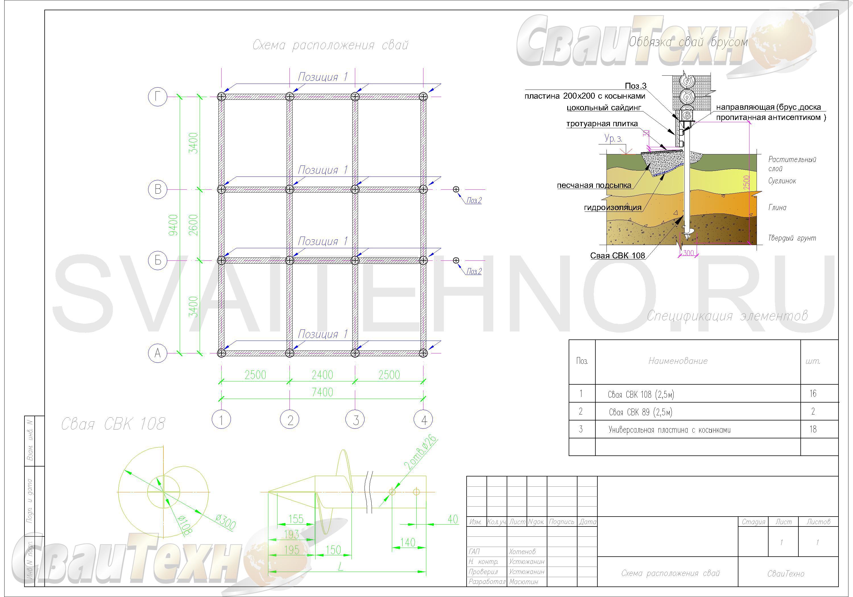 Схема расположения свай для фундамента двухэтажного каркасного дома 9400х7400мм