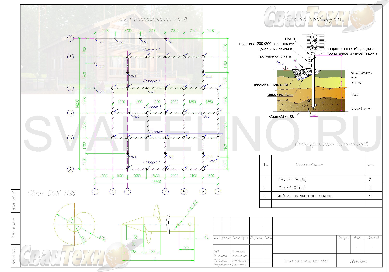 Схема расположения свай для фундамента двухэтажного дома из бруса