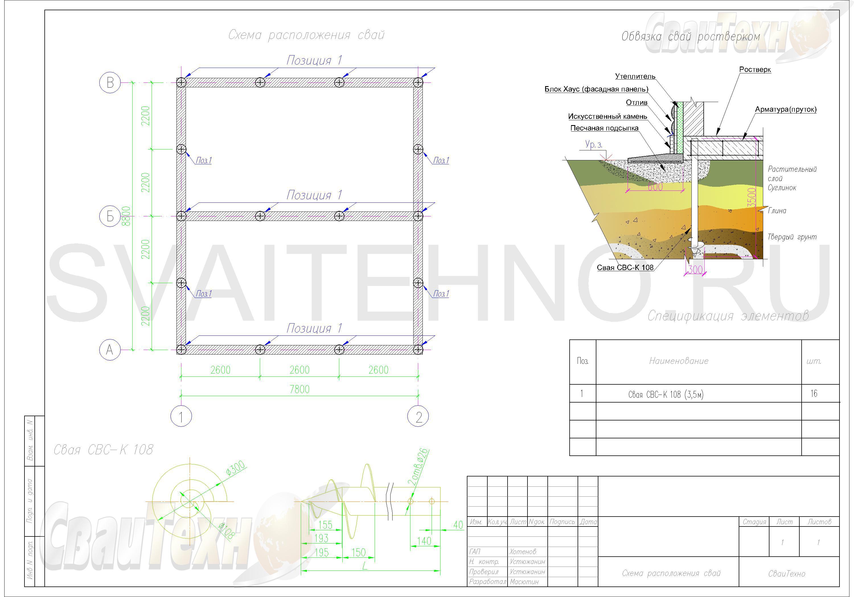 Схема размещения свай для свайного фундамента дома из бруса
