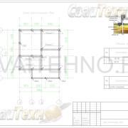 Схема расположения свай для фундамента бани 7155х5860мм