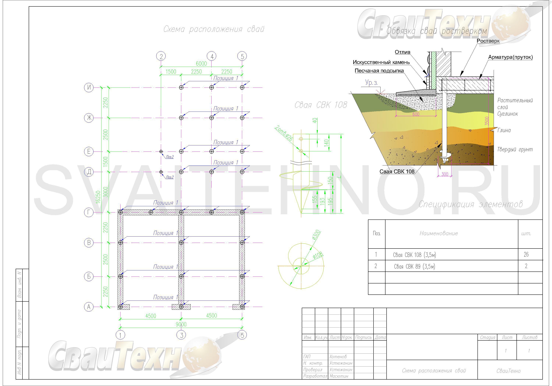 Схема расположения свай для фундамента гаража с пристроенной баней