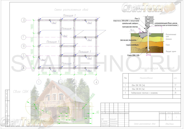 Схема расположения свай для фундамента дома-бани из бруса 150х150