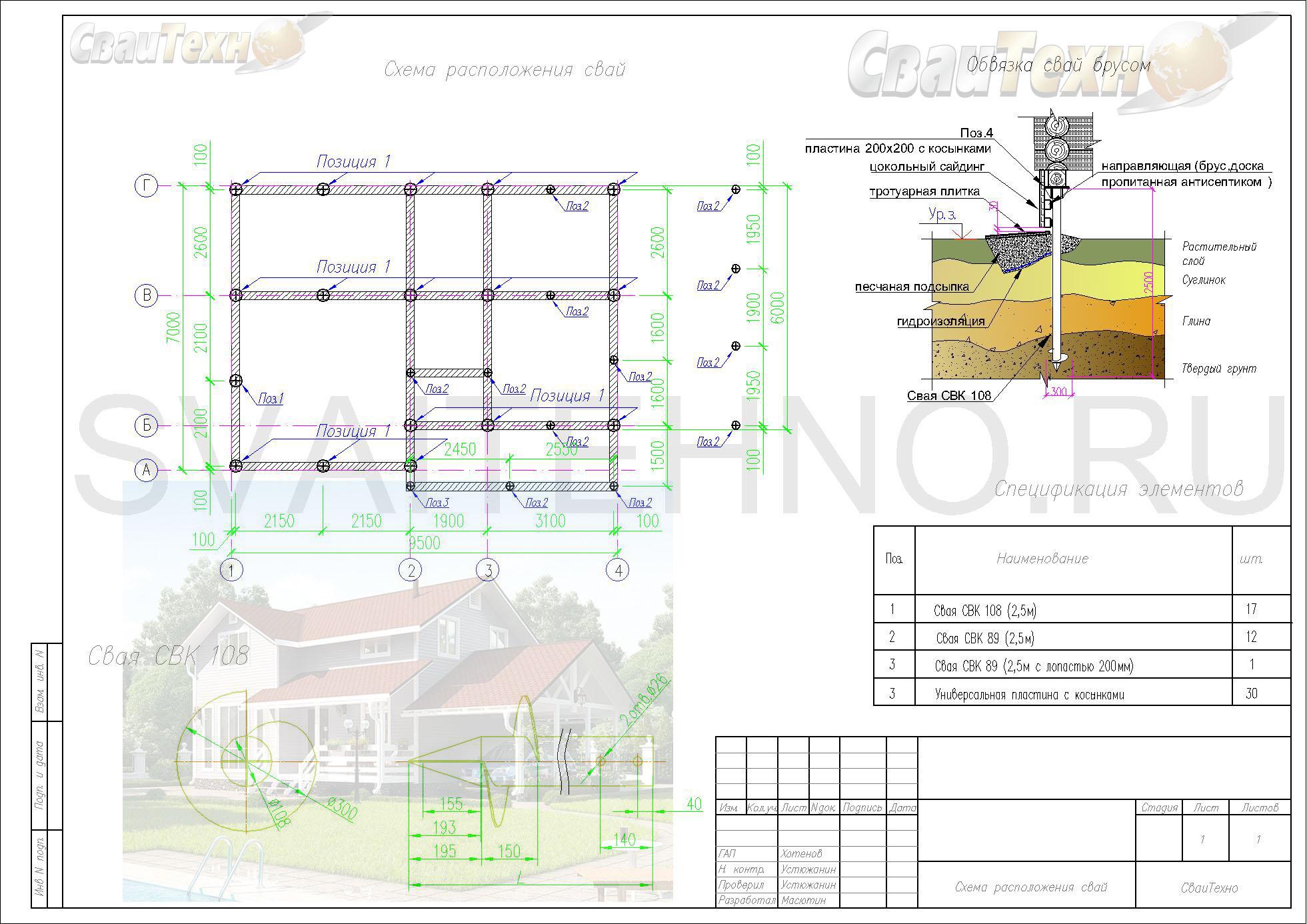 Схема расположения свай для фундамента дома каркасного типа с мансардным этажом
