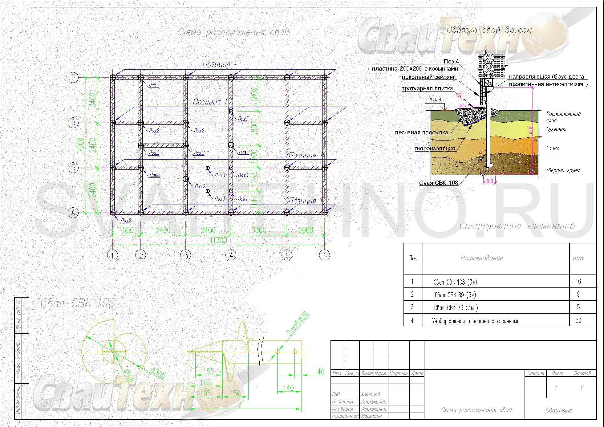 Схема расположения свай для фундамента двухэтажного дома из СИП панелей