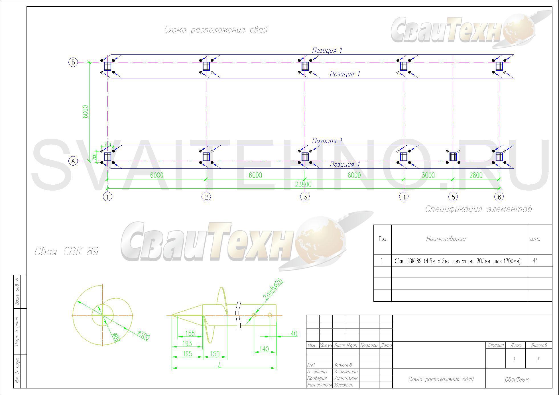 Схема расположения свай для подушек опор здания АБК