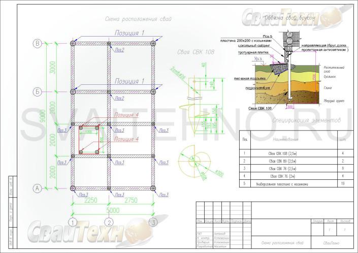 Схема расположения свай для фундамента бани с беседкой, оборудованной мангалом