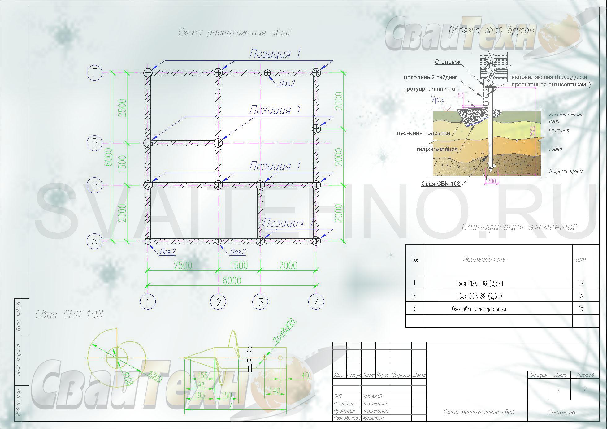 Схема расположения свай для фундамента бани из оцилиндрованного бревна
