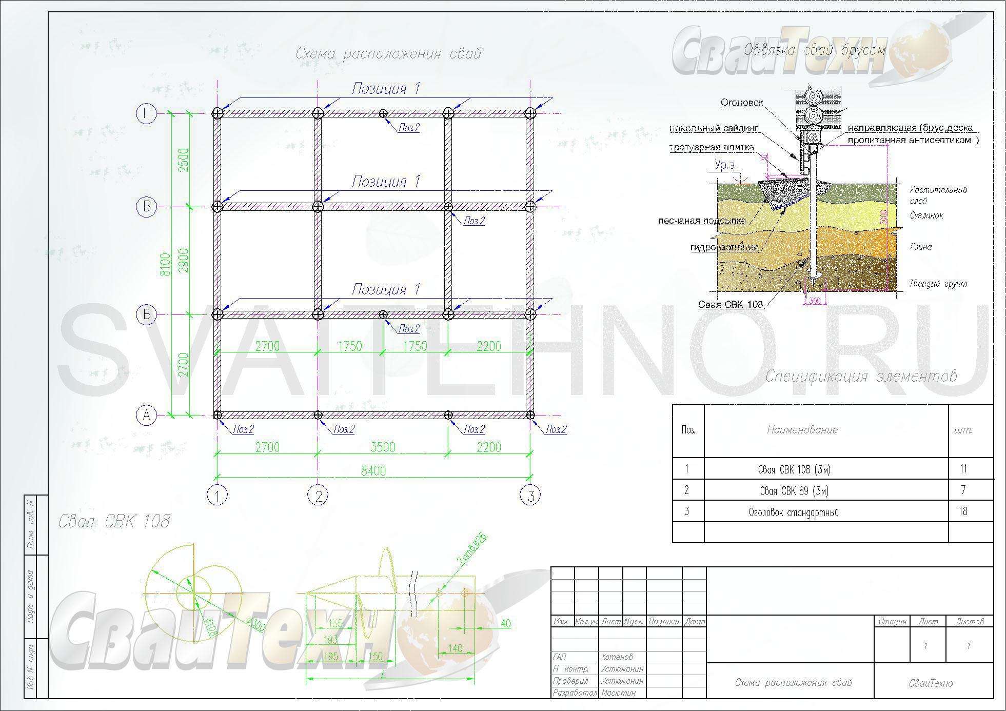 Схема расположения свай для строительства бани с мансардным этажом