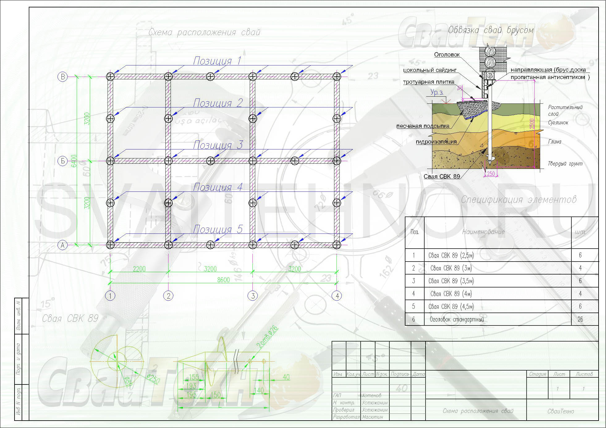 Схема расположения свай для строительства бани из бревна