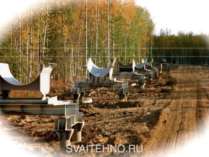 Фундамент на винтовых сваях для неподвижных опор трубопроводов