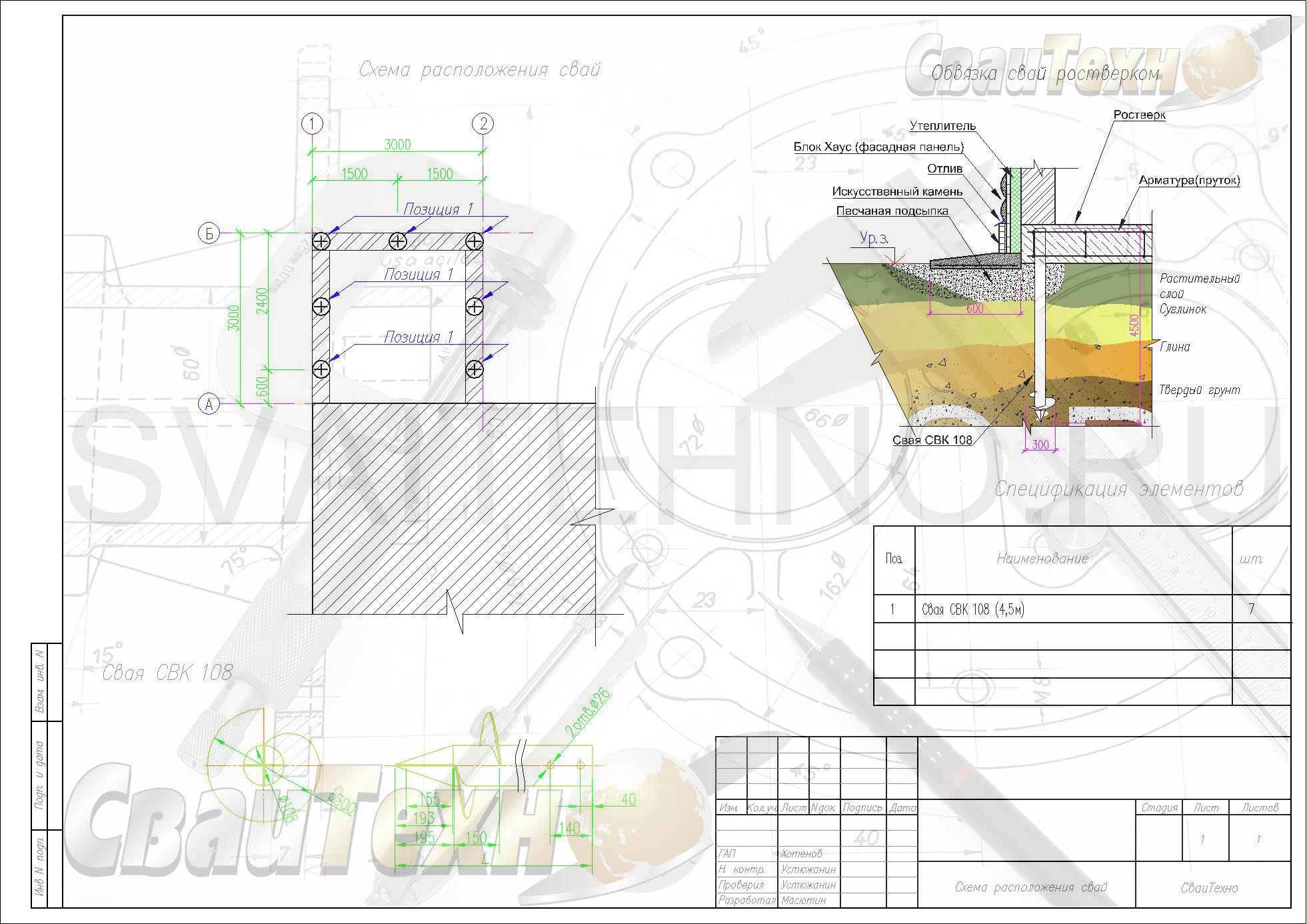 Схема расположения свай для строительства пристроя к дому