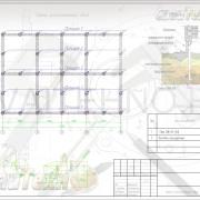 Схема расположения свай для строительства одноэтажного дома 8000х12000мм