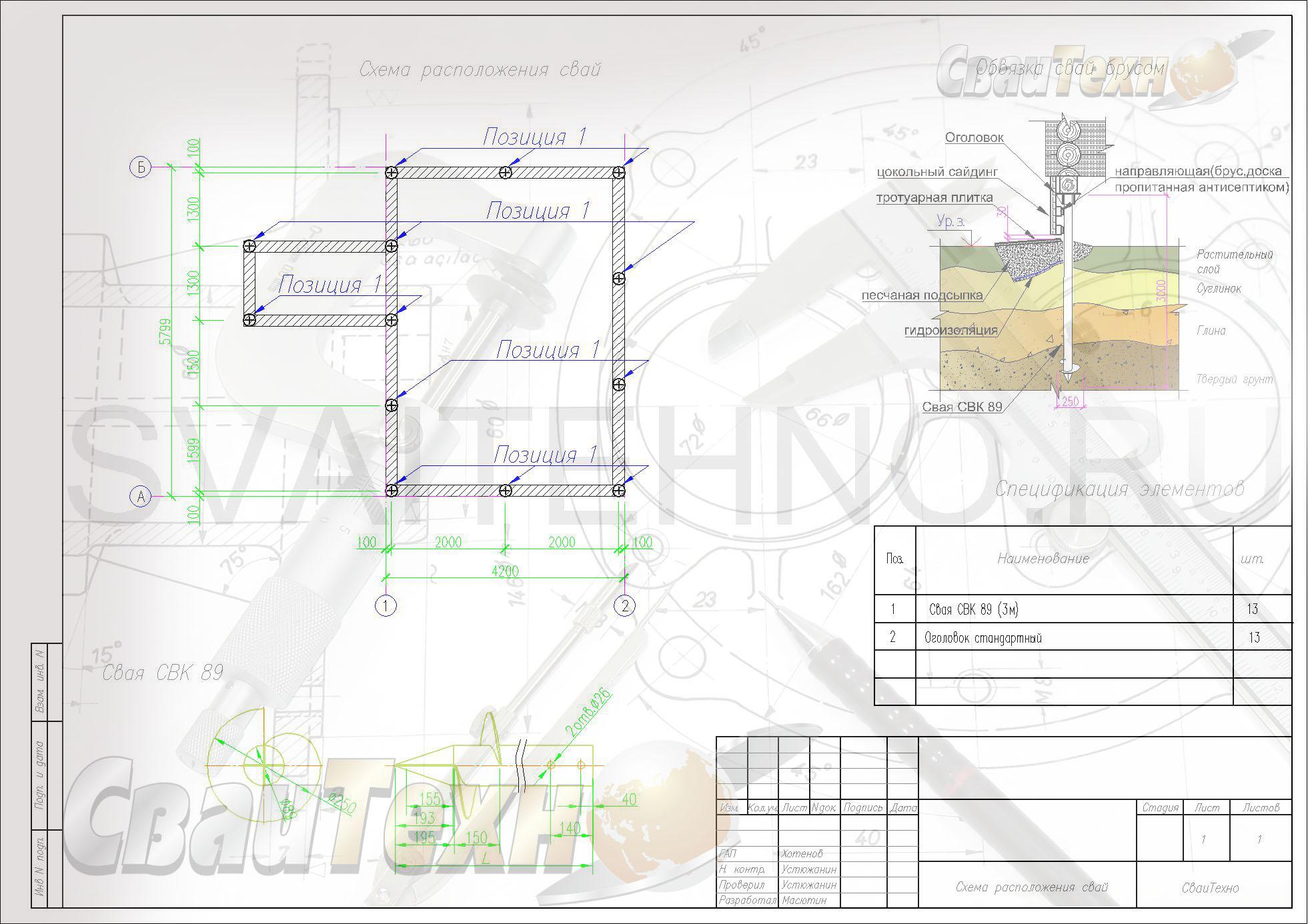 Схема расположения свай для строительства одноэтажного дома из СИП панелей