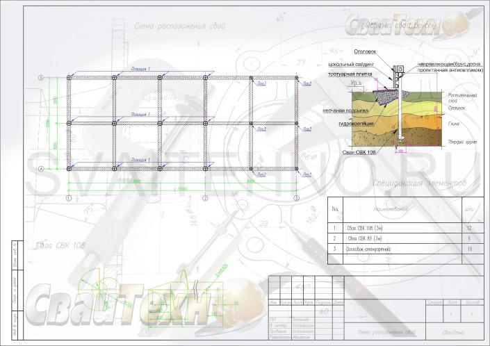 Схема расположения свай для строительства бани с террасой