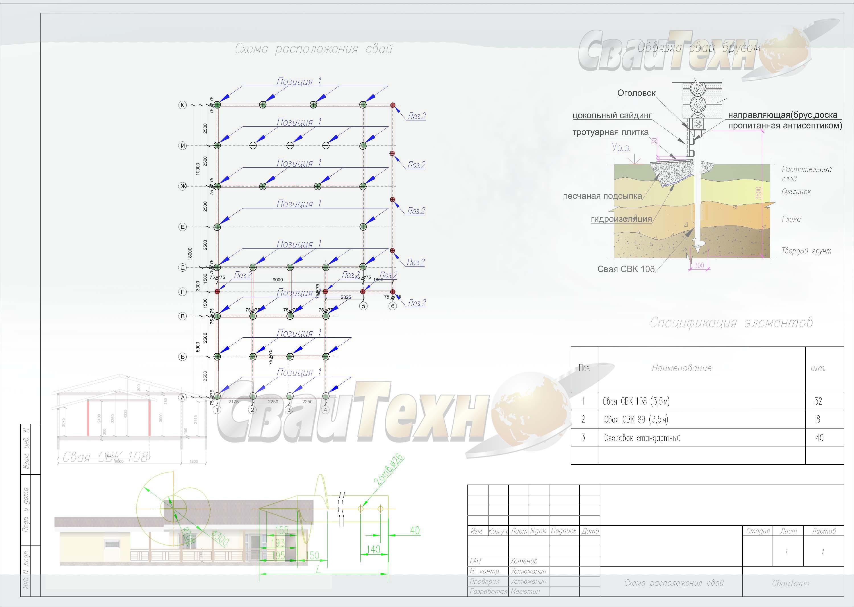 Схема расположения свай для строительства каркасного дома с баней
