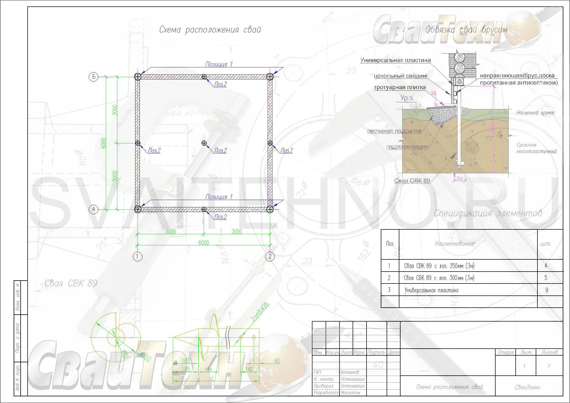 Схема расположения свай для строительства летнего дачного дома