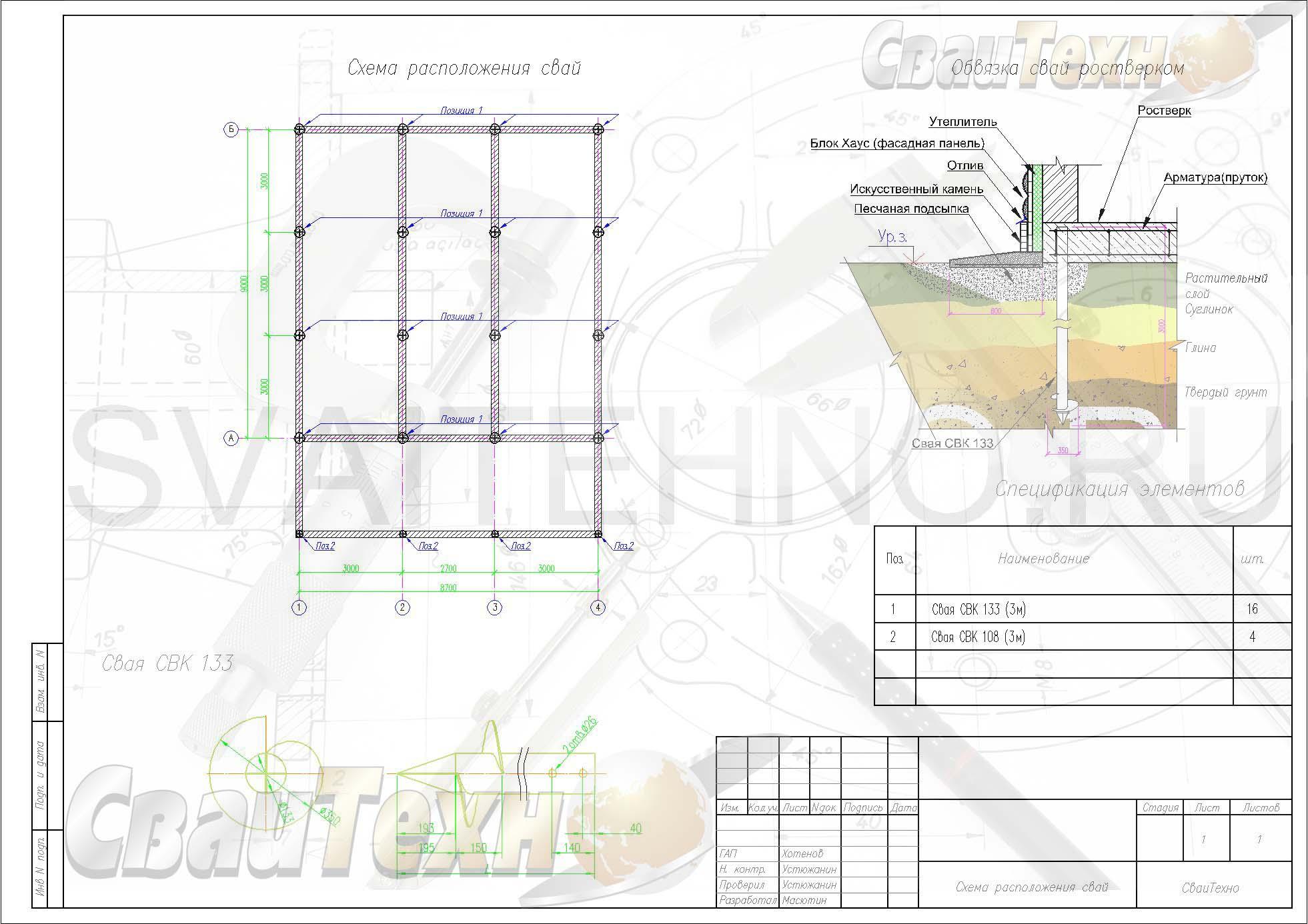 Схема расположения свай для строительства загородного дома из арболита