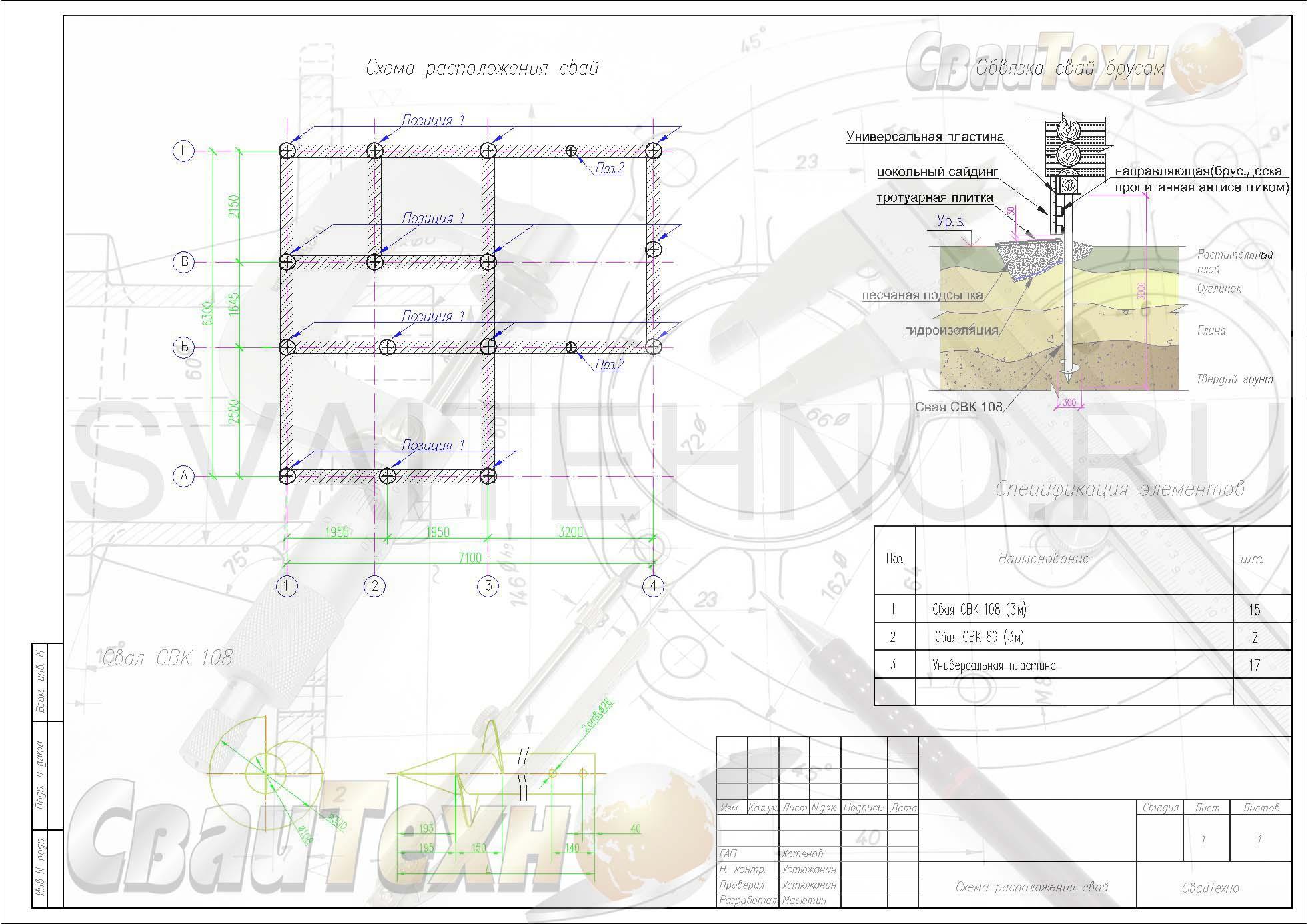 Схема расположения свай для строительства одноэтажного жилого дома из бруса