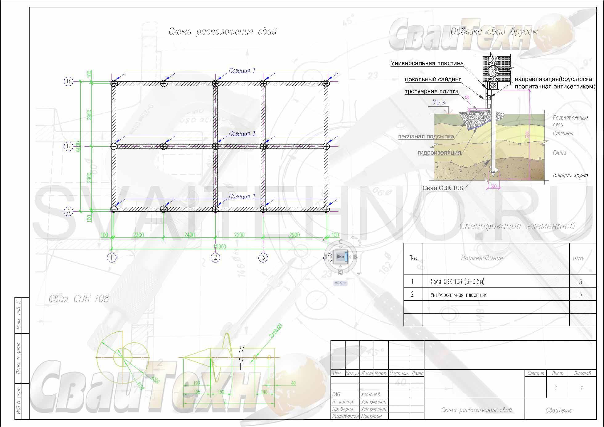 Схема расположения свай для строительства каркасного дома