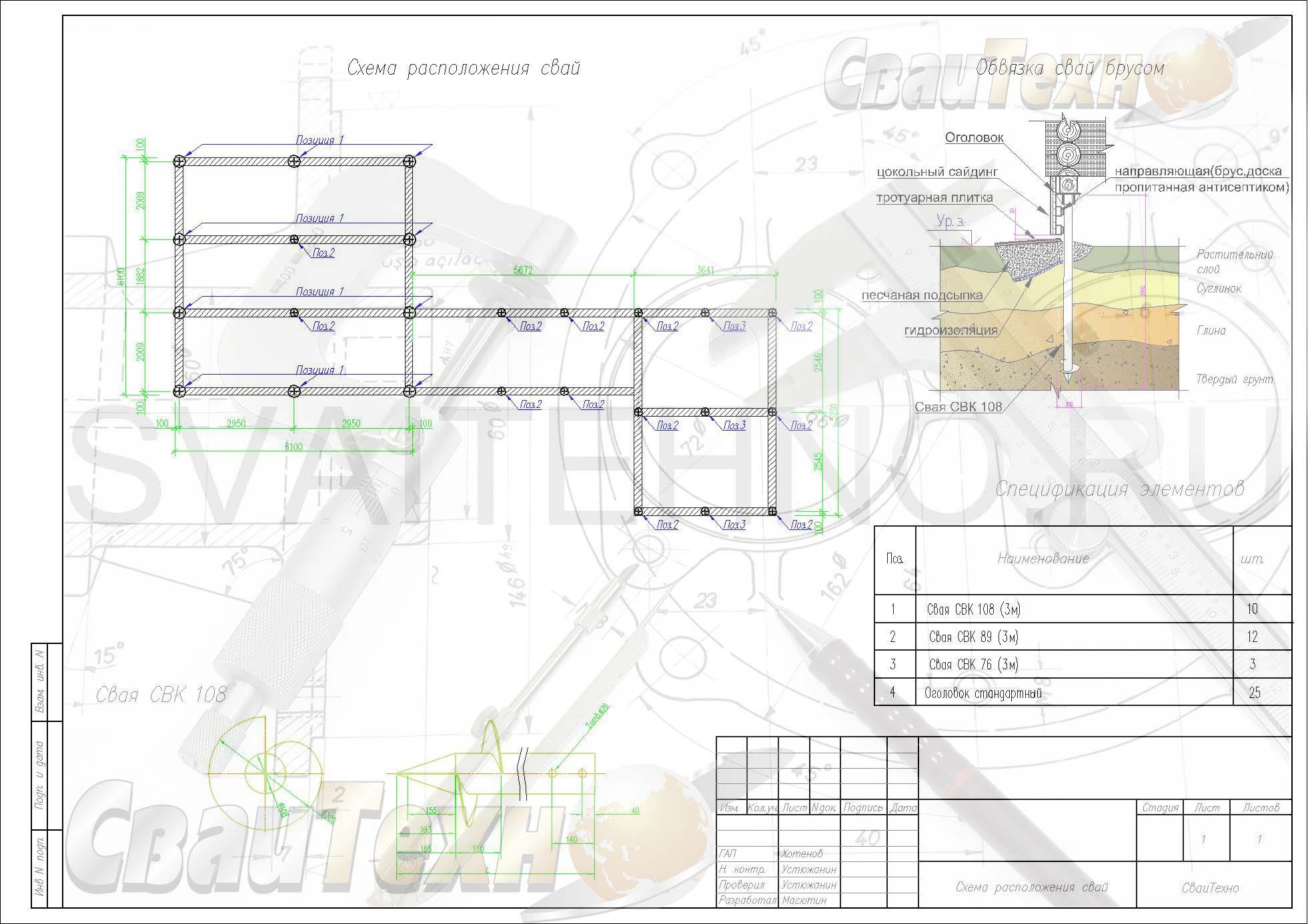 Схема расположения свай для строительства каркасного дома с пристроем