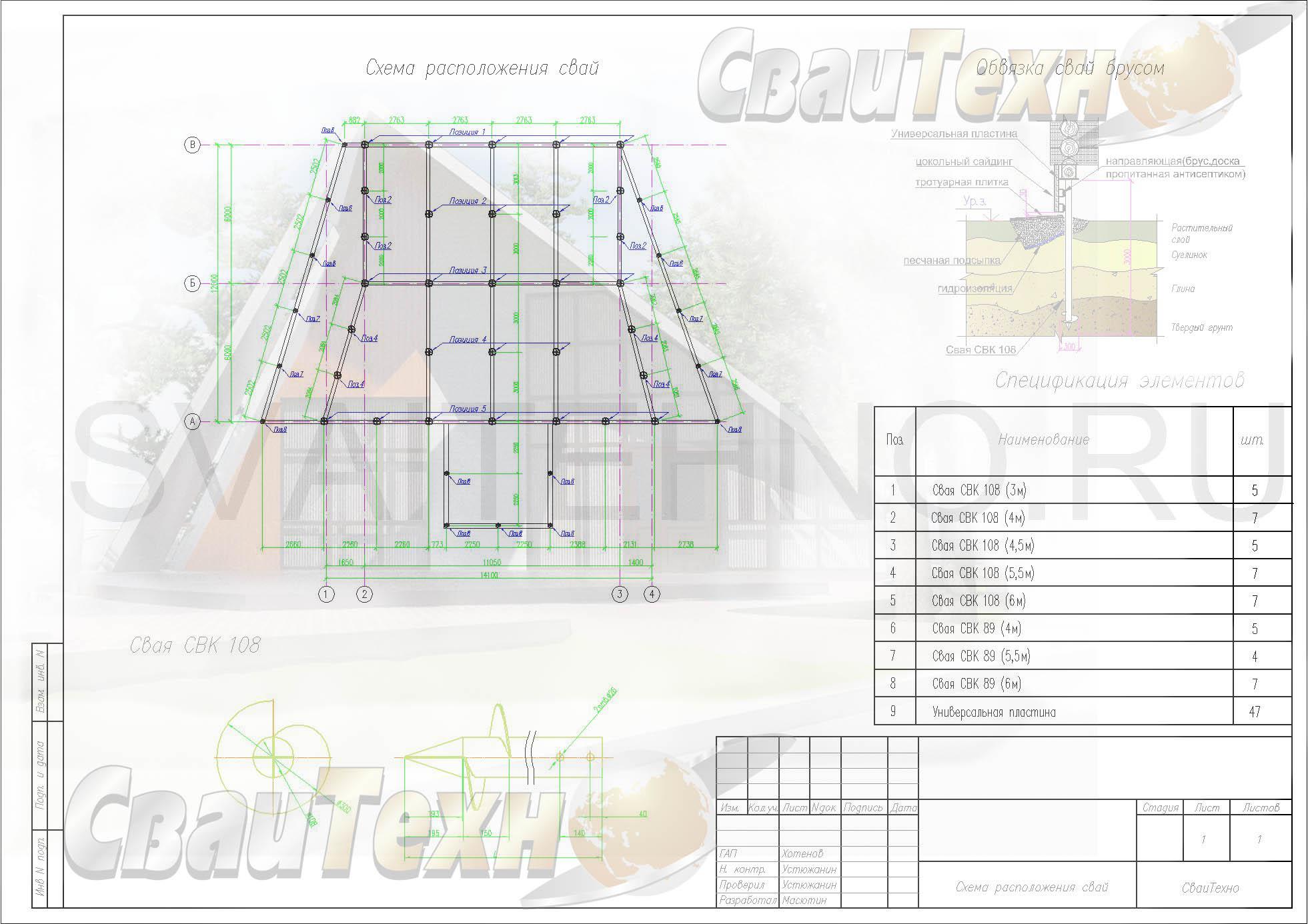 Схема расположения свай для строительства гостевого дома